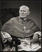 Black and white photo of Archbishop Hurley