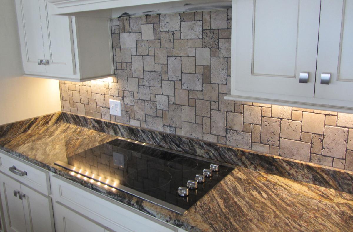 Quartz tile backsplash