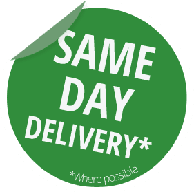 Green sticker of same day delivery