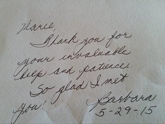 Sacramento Interior Design Customer thank you note
