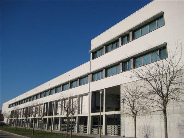 vista laterale di un edificio con alberi spogli