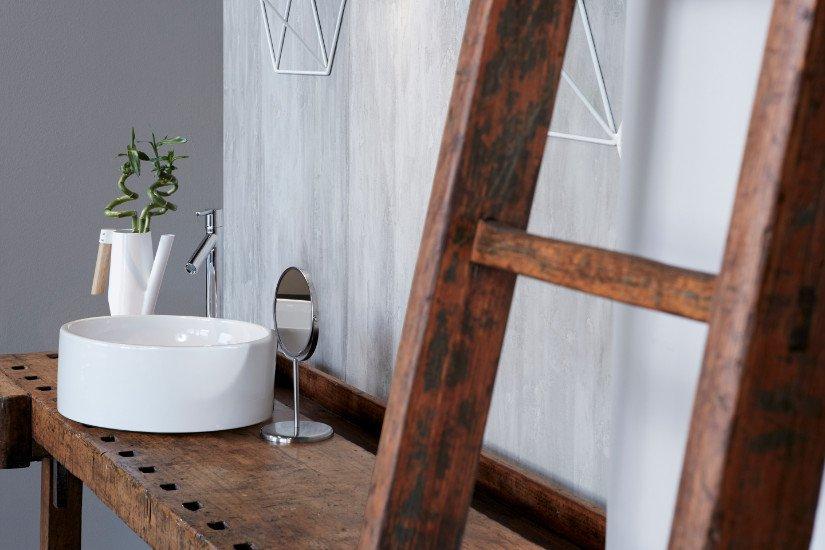 un lavabo con un  rubinetto in acciaio e accanto un vaso