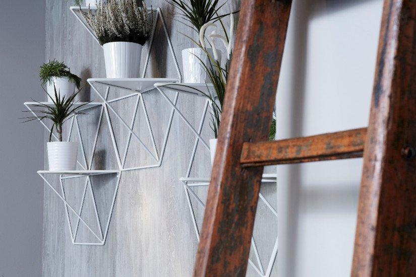 delle strutture in metallo a muro con dei vasi