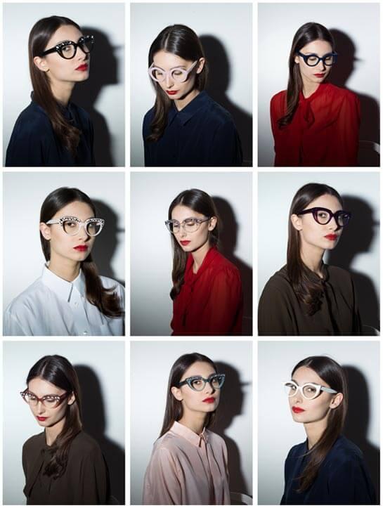 Collage di 9 volti femminili con occhiali da vista.