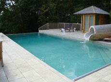 Outdoor private pool with water feature