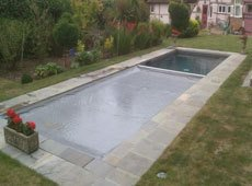 Outdoor pool before completion
