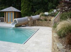 Outdoor pool with small flume