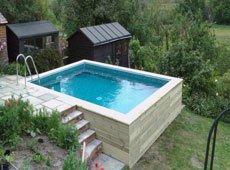 Outdoor raised pool with stepped entry