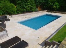Outdoor pool with flagstone patio