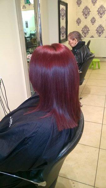 burgundy coloured hair