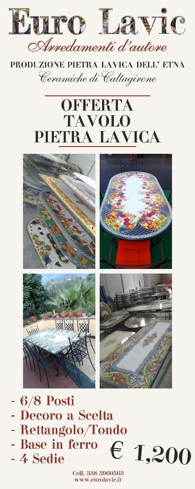 Tavoli Da Giardino Ceramica Caltagirone.Tavoli In Pietra Lavica Catania Euro Lavic