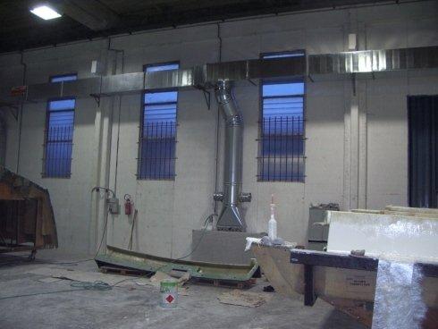Impianto filtrazione verniciatura barche