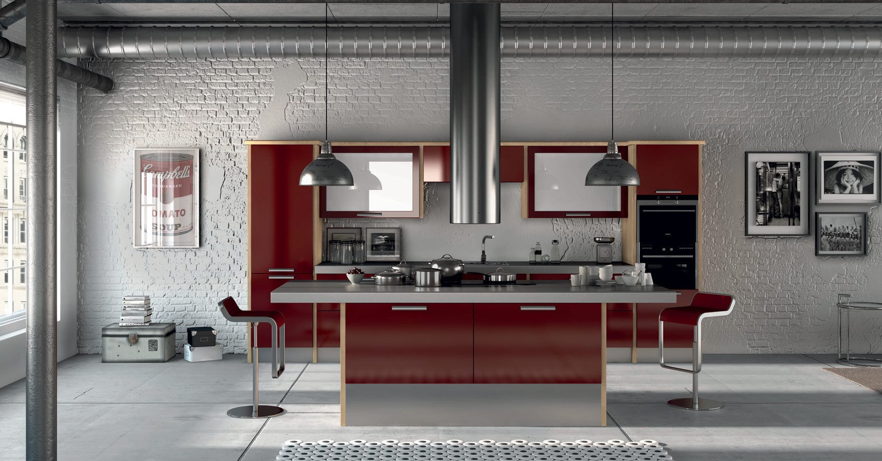 Modern spacious kitchen with metal table and red detail