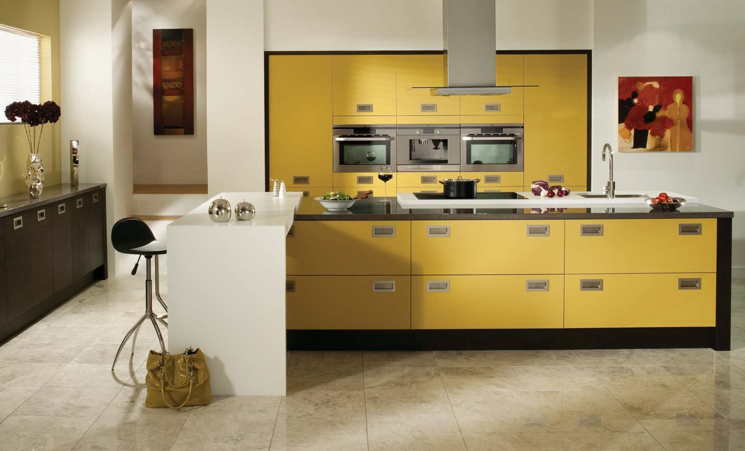 Modern kitchen with yellow cabinets