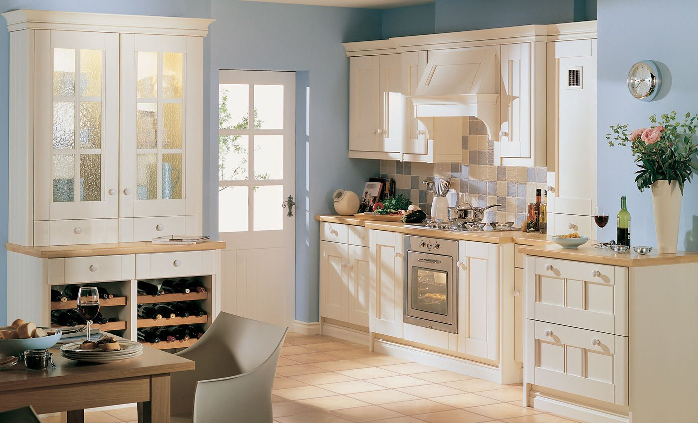 Kitchen with beige furniture and blue walls