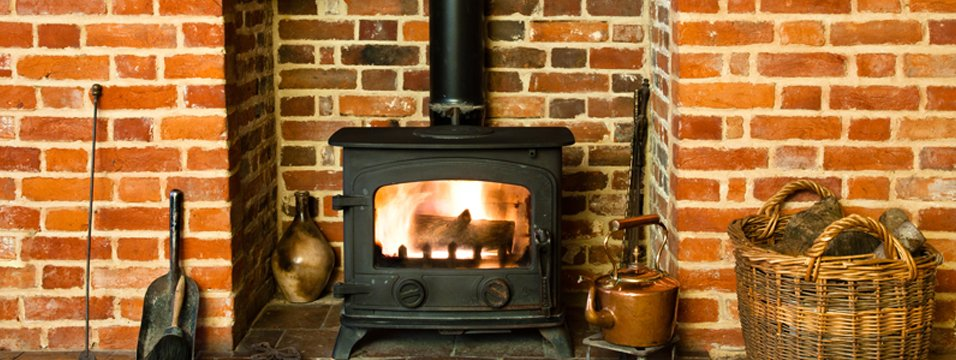 A wood burning stove