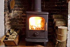 A close up of a wood burning stove