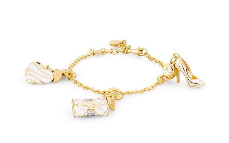 Bracciale ROSATO gioielli in argento dorato con ciondoli