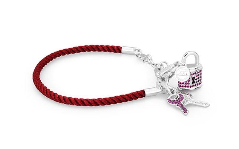 Bracciale ROSATO in argento e corda rosso per CHARM