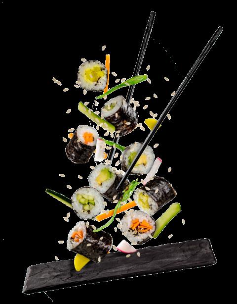 immagine grafica di sushi su un piatto nero in pietra