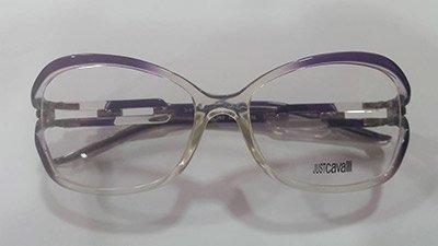 occhiale con montatura trasparente e viola