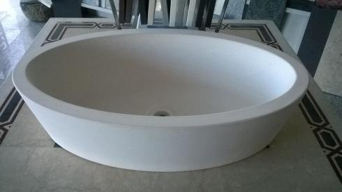 Lavabo ovale in marmo bianco