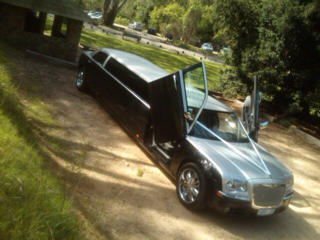 View of a limousine with open doors parked in the garden