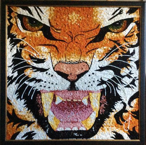 Mosaic of tiger completed by Senart Mosaics