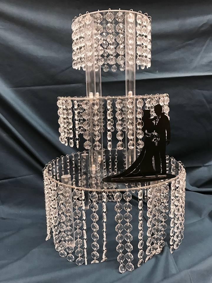 alzata stile swaroski con statuetta nera