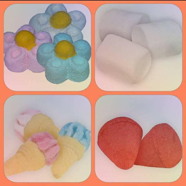 caramelli a forma di fragola, fiore e coni gelato
