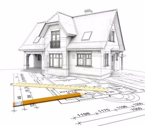 A 3D sketch of a house on top of a building plan