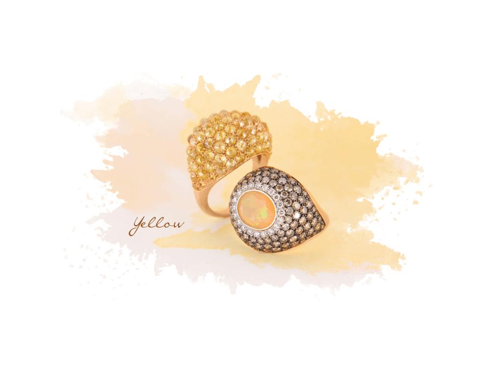 due anelli con pietre e zircone
