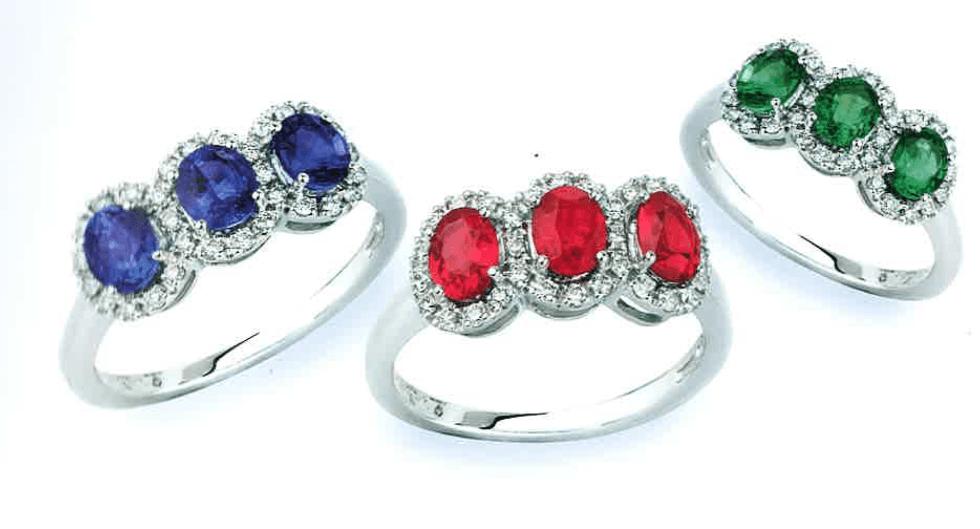 tre anelli con degli zirconi