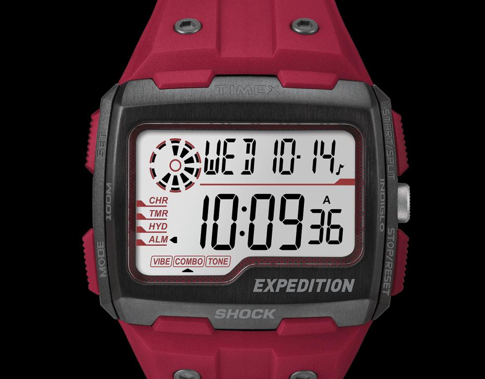 un orologio rosso di Timex
