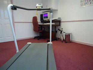 A treadmill, used to assess walking style