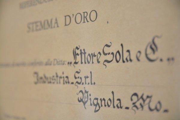 Certificazione Ettore Sola