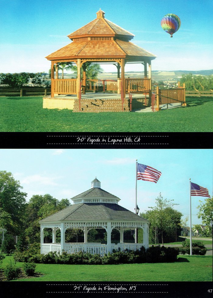 2 styles of gazebo, available from Wood Kingdom East