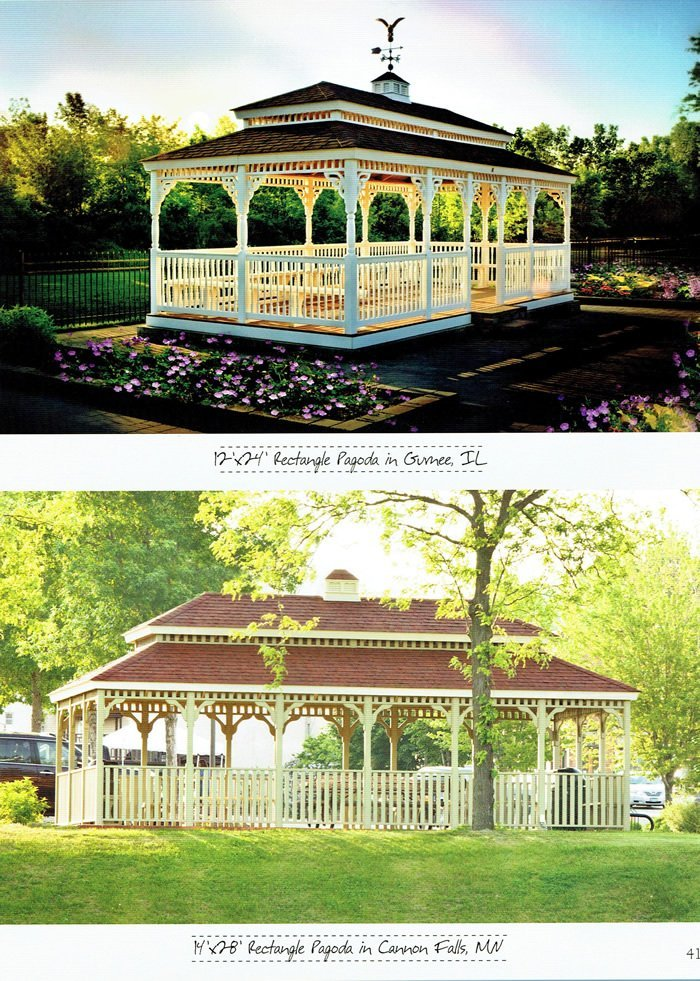 2 rectangle pagoda-style gazebos, built by Wood Kingdom East