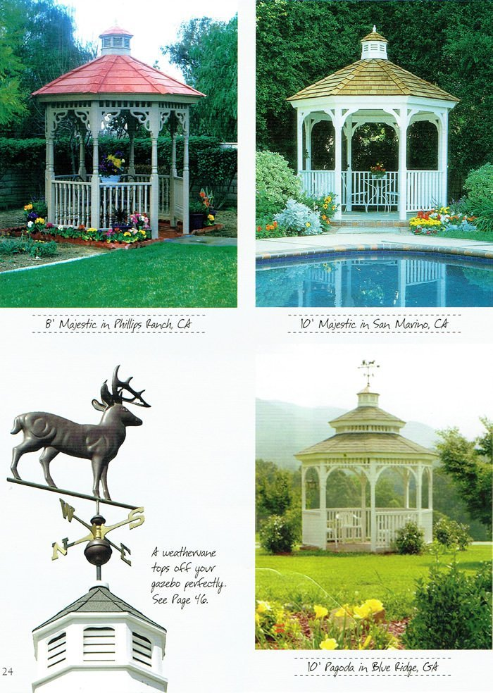 3 types of gazebos and a weathervane - Wood Kingdom East