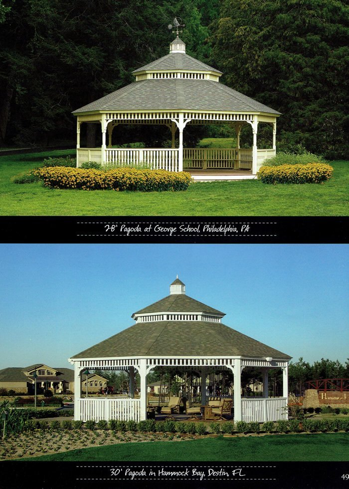 2 types of gazebo, available from Wood Kingdom East
