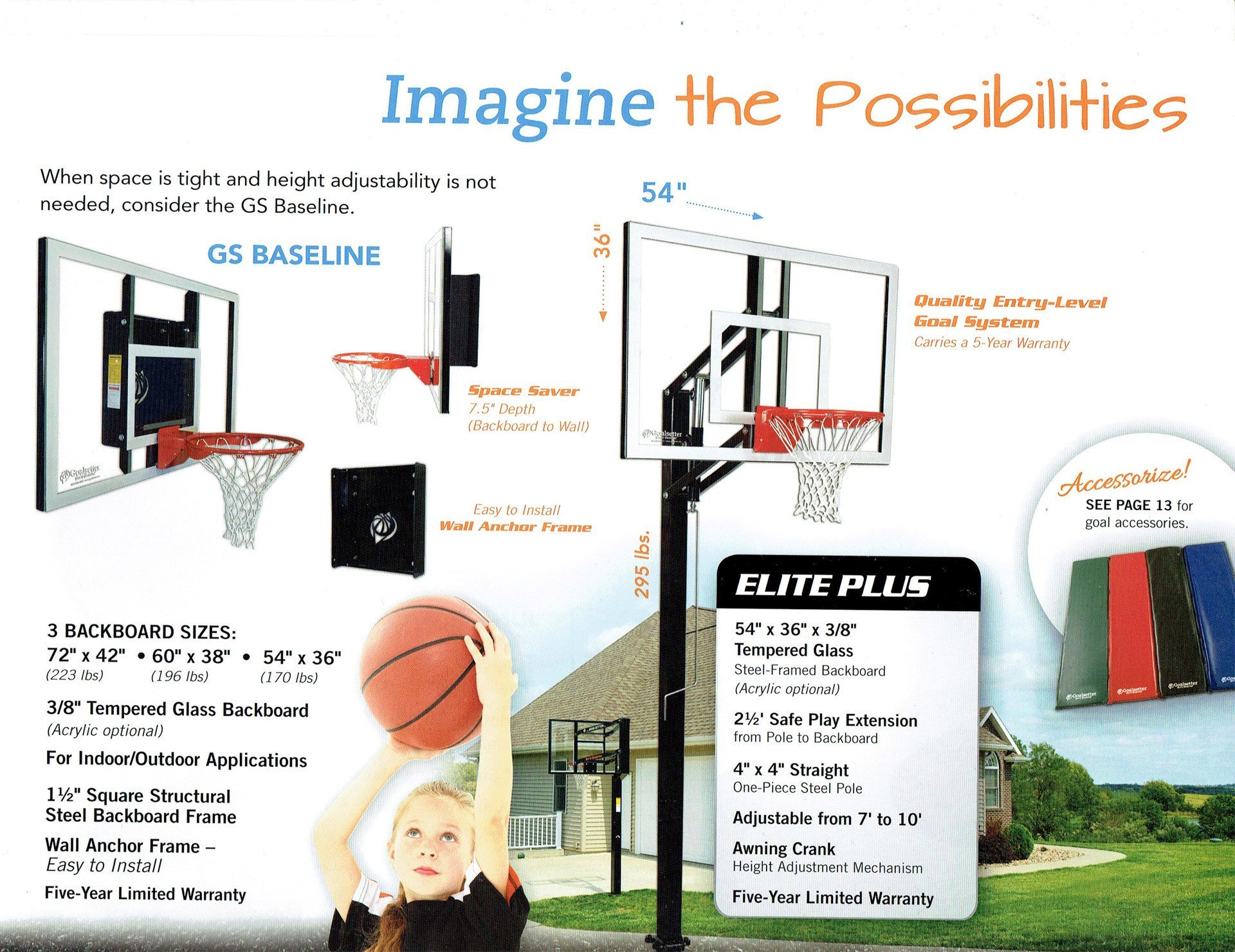 goalsetter basketball systems, wall mount & free standing system - Wall Kingdom East - Coram, Long Island, Medford, The Hamptons