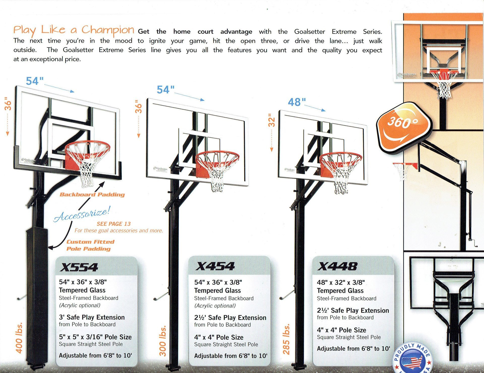 goalsetter basketball systems come in several sizes - Wood Kingdom East - Coram, Long Island, Medford, The Hamptons