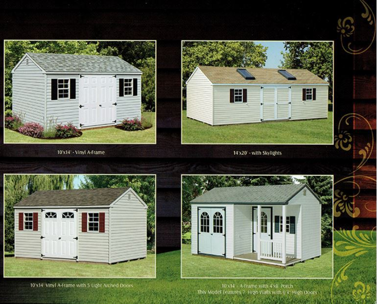 examples of vinyl a-frame sheds from Wood Kingdom East