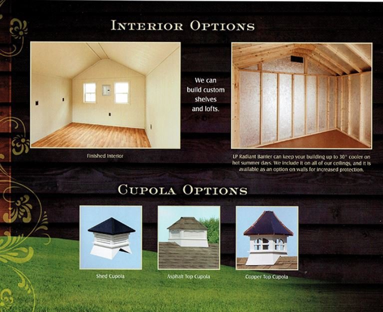 interior options for sheds from Wood Kingdom East