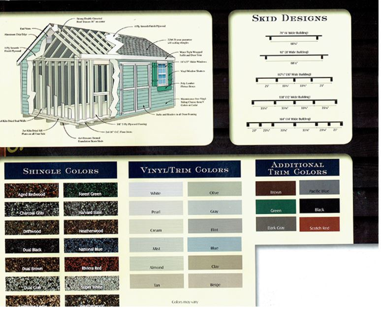 skid designs, shingle colors, vinyl colors, trim colors for sheds from Wood Kingdom East