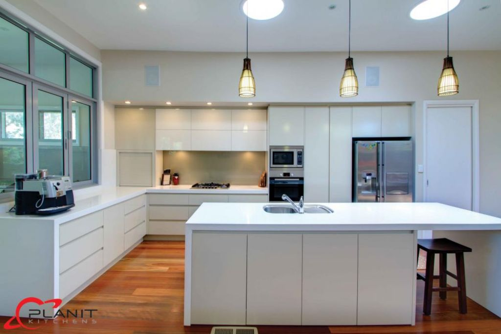 contemporary kitchen with downlights