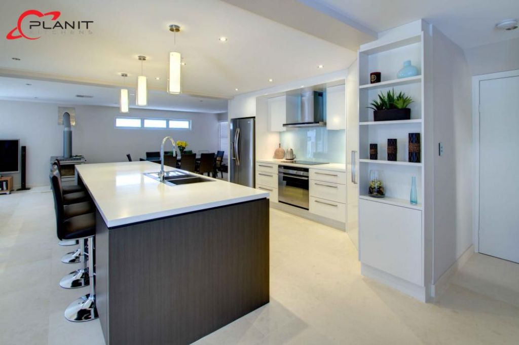 contemporary kitchen with island and breakfast bar
