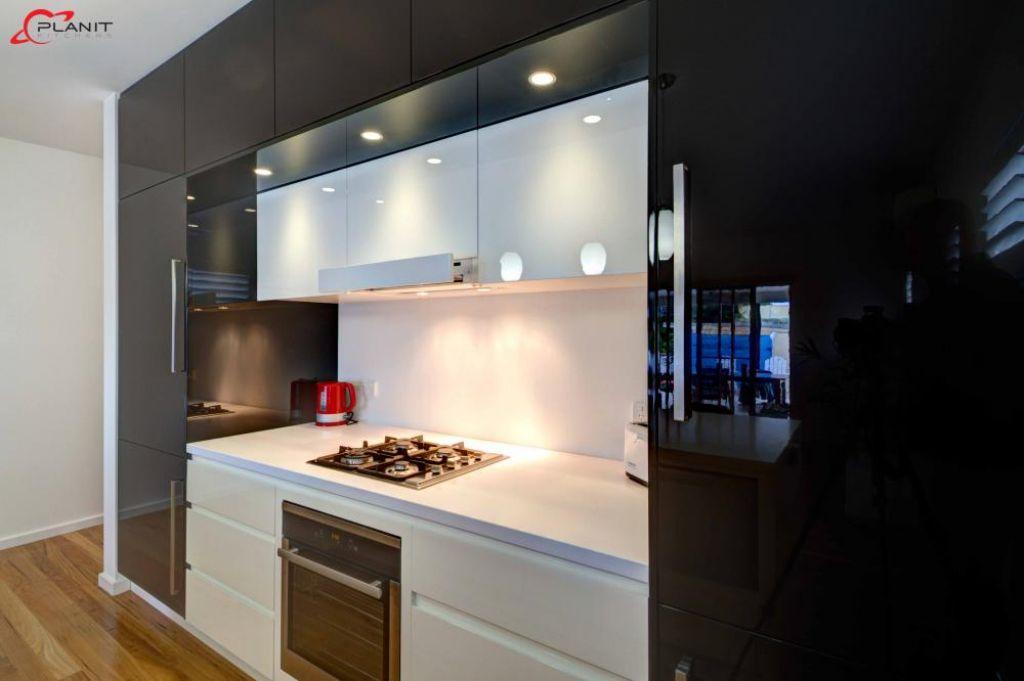 elegant black and white kitchen