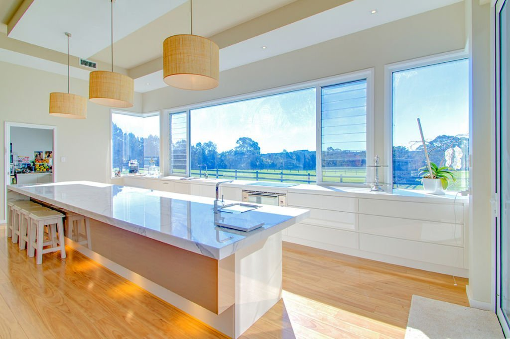 contemporary open kitchen facing countryside