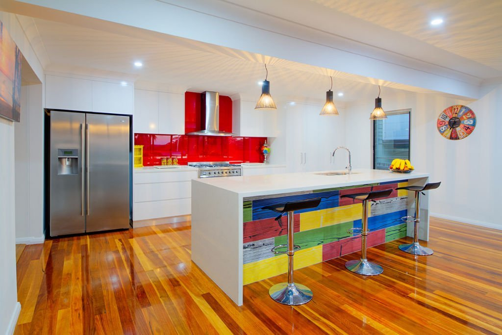 contemporary kitchen with multicolour feature island